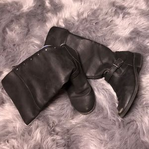 Shoes - Black studded calf height zip up boots size 5